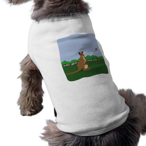 Cartoon Kangaroos Flying a Kite Dog Tee