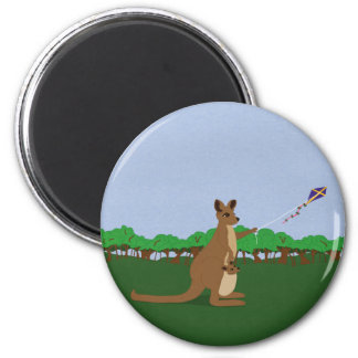 Cartoon Kangaroos Flying a Kite Magnet