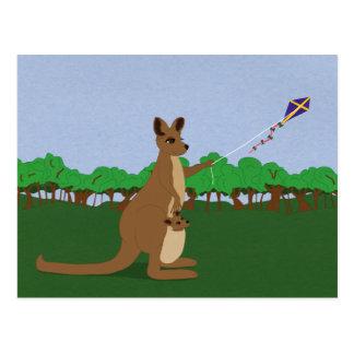 Cartoon Kangaroos Flying a Kite Postcards