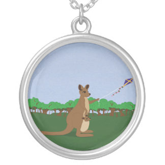Cartoon Kangaroos Flying a Kite Silver Plated Necklace