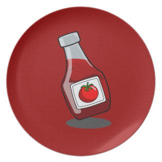 Cartoon Ketchup Bottle Melamine Plate