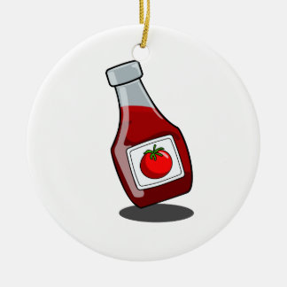 Cartoon Ketchup Bottle Ornament