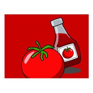 Cartoon Ketchup Bottle Postcard