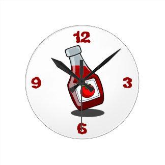Cartoon Ketchup Bottle Round Clock