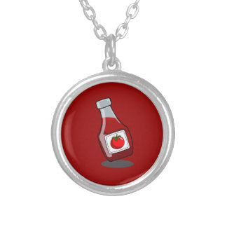 Cartoon Ketchup Bottle Round Pendant Necklace