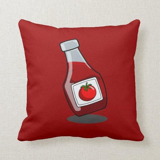 Cartoon Ketchup Bottle Throw Pillows