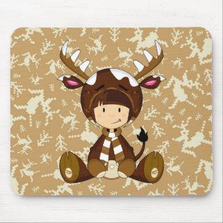 Cartoon Kid in Reindeer Costume Mouse Pad