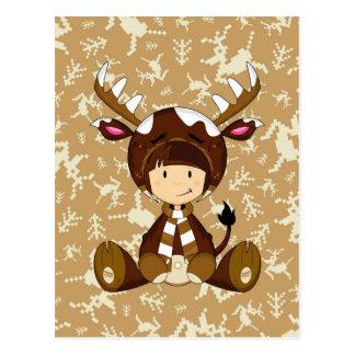 Cartoon Kid in Reindeer Costume Postcard