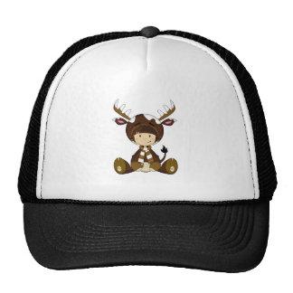Cartoon Kid in Reindeer Costume Trucker Hat