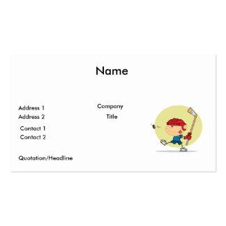 cartoon kid playing ice hockey design business card