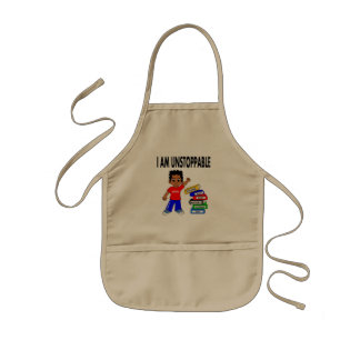 Cartoon Kid with Tall Stack of Books Kids' Apron