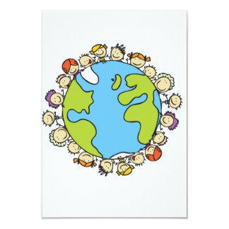 Cartoon Kids Around Earth Card
