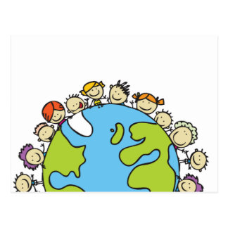 Cartoon Kids Around Earth Postcard