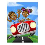 Cartoon Kids Driving Car Postcard
