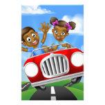 Cartoon Kids Driving Car Stationery