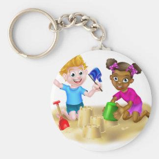 Cartoon Kids Making Sandcastles Keychain