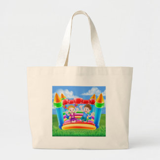Cartoon Kids on Bouncy Castle Large Tote Bag