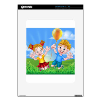 Cartoon Kids Outdoors Jumping with Balloon Decal For The iPad