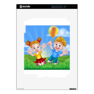 Cartoon Kids Outdoors Jumping with Balloon Decal For The iPad 2