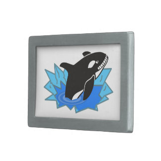 Cartoon Killer Whale/Orca Leaping Out of the Water Belt Buckle
