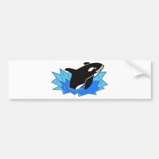 Cartoon Killer Whale/Orca Leaping Out of the Water Bumper Sticker