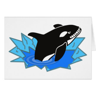 Cartoon Killer Whale/Orca Leaping Out of the Water Card