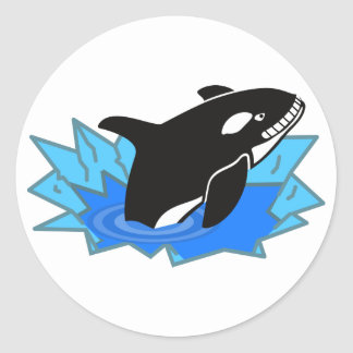 Cartoon Killer Whale/Orca Leaping Out of the Water Classic Round Sticker