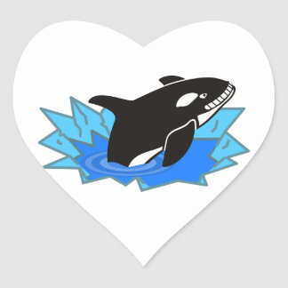 Cartoon Killer Whale/Orca Leaping Out of the Water Heart Sticker