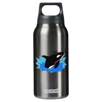 Cartoon Killer Whale/Orca Leaping Out of the Water Insulated Water Bottle