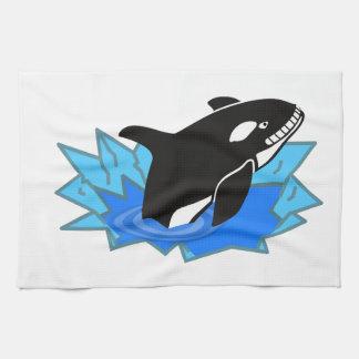 Cartoon Killer Whale/Orca Leaping Out of the Water Kitchen Towels