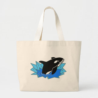 Cartoon Killer Whale/Orca Leaping Out of the Water Large Tote Bag