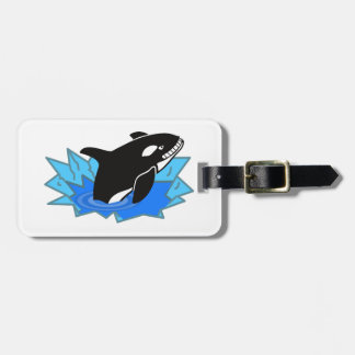 Cartoon Killer Whale/Orca Leaping Out of the Water Tags For Bags