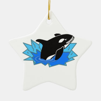 Cartoon Killer Whale/Orca Leaping Out of the Water Double-Sided Star Ceramic Christmas Ornament