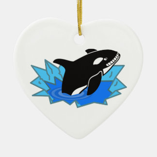 Cartoon Killer Whale/Orca Leaping Out of the Water Double-Sided Heart Ceramic Christmas Ornament