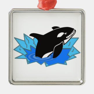 Cartoon Killer Whale/Orca Leaping Out of the Water Square Metal Christmas Ornament
