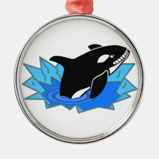 Cartoon Killer Whale/Orca Leaping Out of the Water Round Metal Christmas Ornament
