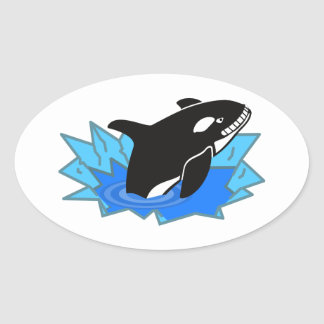Cartoon Killer Whale/Orca Leaping Out of the Water Oval Sticker