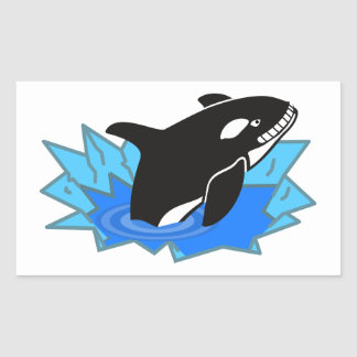 Cartoon Killer Whale/Orca Leaping Out of the Water Rectangular Sticker