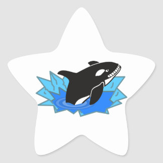 Cartoon Killer Whale/Orca Leaping Out of the Water Star Sticker