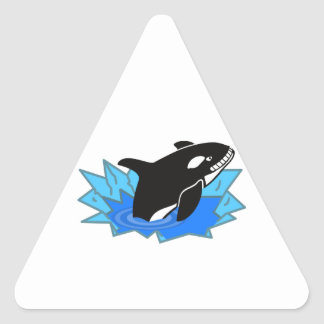 Cartoon Killer Whale/Orca Leaping Out of the Water Triangle Sticker