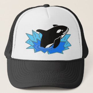 Cartoon Killer Whale/Orca Leaping Out of the Water Trucker Hat