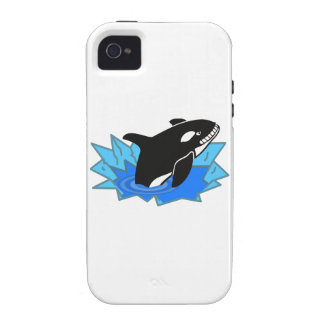 Cartoon Killer Whale/Orca Leaping Out of the Water Vibe iPhone 4 Cover