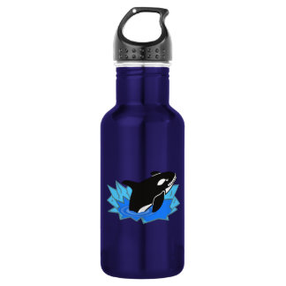 Cartoon Killer Whale/Orca Leaping Out of the Water Water Bottle