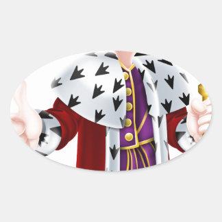 Cartoon King Oval Sticker