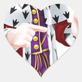 Cartoon King Pointing Heart Sticker