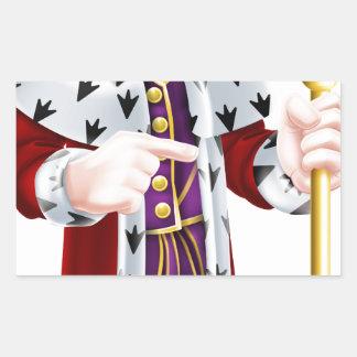 Cartoon King Pointing Rectangular Sticker