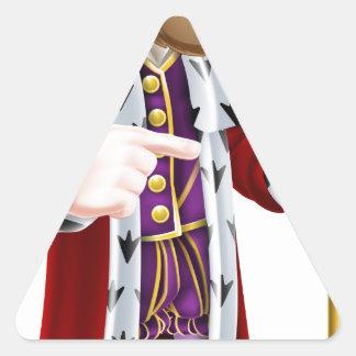 Cartoon King Pointing Triangle Sticker