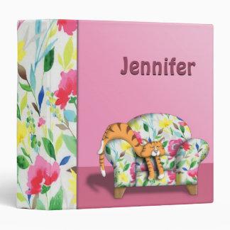 Cartoon Kitty asleep on a floral chair 3 Ring Binder