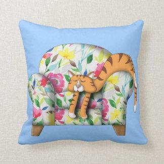 Cartoon Kitty asleep on a floral chair Pillows