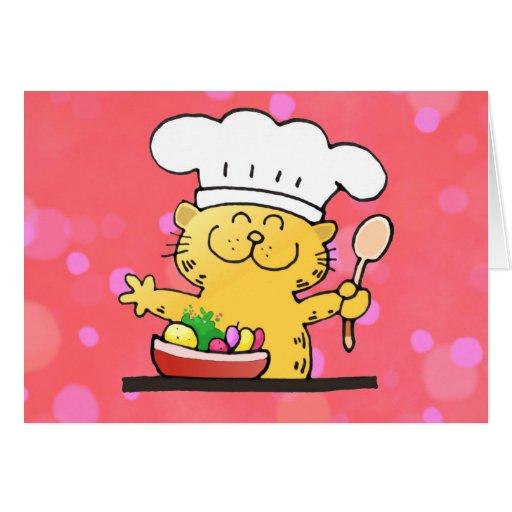 Cartoon Kitty Chef | Cute Kitty Chef Card
